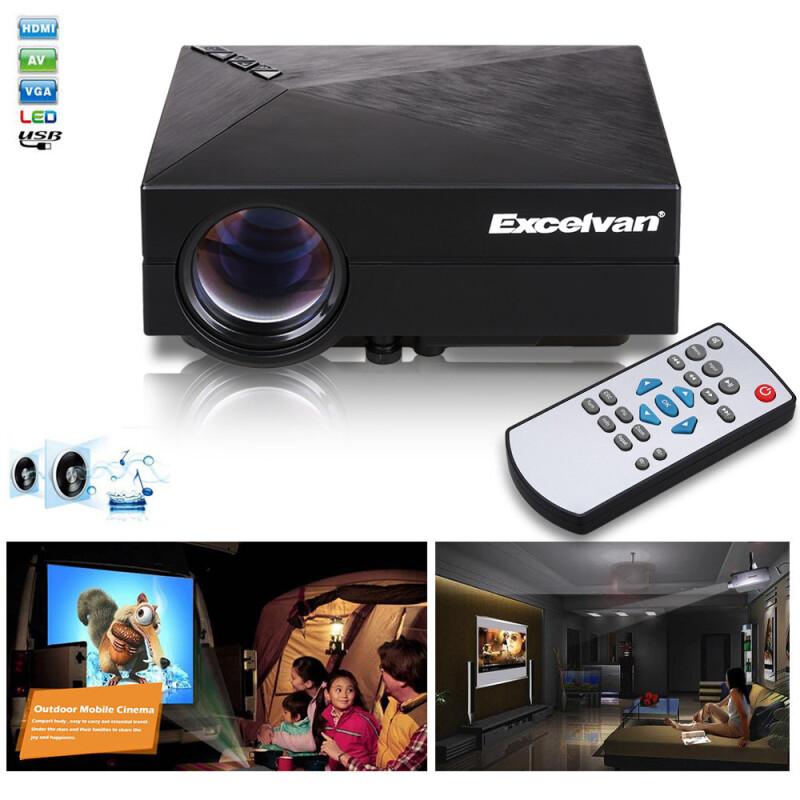 Excelvan gm60 multimedia mini portable led projector with for Portable projector with usb input