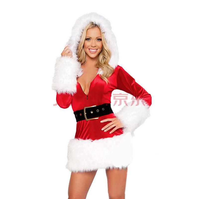 ZAFUL Sexy Горячий красный Санта Рождественский костюм платье Outfit Набор для дам-JD