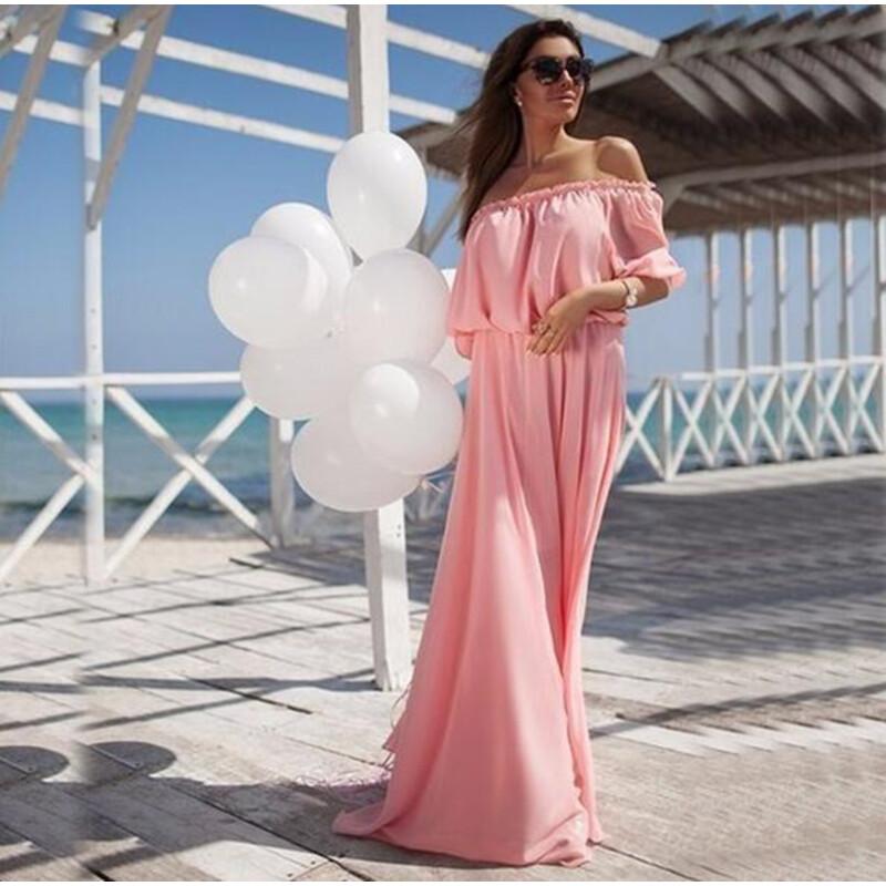 Платья розовое длинное