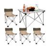 Гриль семьи (е-Ровер) Любовь поездка неторопливый уличные столы Мебель для пикника и стулья для наружных переносных кресел можно сложить пакет из алюминия (1 стол стул +4) стол для рукоделия ст 80 07 дуб сонома шатура столы и стулья