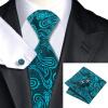 n-1045 Vogue мужчин шелковым галстуком установили зеленый пейсли галстук платок запонки набор связей для мужчин официальный свадебный бизнес оптом оптом крепление для авторегистратора