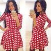 Lovaru ™ Новая мода горячей продажи винтажной одежды женские вскользь платье сердце любовь сладкий красный Женщины три четверти рукавом платье новая любовь