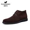где купить Fuguiniao FUGUINIAO моды замша кожи мужских ботинки теплые зимние ботинки вскользь высоких ботинки коричневого хлопка мягкой обувь D497301 43 по лучшей цене