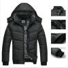 Зимнее пальто Мужчины черный Куртка Тепло Пальто изнашивать Хлопок подбитый С капюшоном вниз пальто