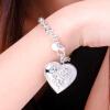 Браслеты браслета 925 стерлингового серебра женщин браслет симпатичного сердца привесной романтичный цветок Bridal ювелирные брасл