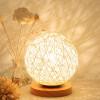 BOKT Минималистский массивный деревянный стол Настольная лампа для прикроватной тумбочки Красочный домашний декор Ротанг-мяч Круглый абажур