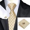 Н-0582 моде мужчины Шелковый галстук набор галстук Запонки платок желтый Новинка набор галстуков для мужчин формальных Свадебный бизнес оптом