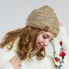 LACKPARD леди зима теплая шерсть шляпа наружная головная куртка мода вскользь защита для ушей вязаная шапка вязаная мода smail i мiddle для женщин спицы