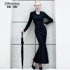 DF · RS С длинными рукавами осенне-зимнее платье с длинными рукавами женская черная Тонкая юбка с юбкой для юбки из искусственного женские юбки в розницу