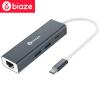 Би Диас (BIAZE) Type-C к USB разветвитель + PD зарядный порт Gigabit Ethernet HUB хаб конвертер Apple MacBook Pro серый металлик ZH20