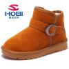 HOBIBEAR зимние детские обувь из натуральной кожи девочек обувь с плюшевой модные зимние ботинки для мальчиков обувь GW2539