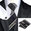 Н-0798 моде мужчины Шелковый галстук набор галстук платок Запонки черная полоса набор галстуков для мужчин формальных Свадебный бизнес оптом