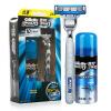 Gillette Shaving Razor Set for Men (razor handle *1, blade *1, shaving cream 70g ) 3 layer blade razor set in wood handle shaving razor set free shipping titan razor