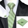 Н-0234 моде мужчины Шелковый галстук набор галстук платок Запонки Зеленая полоса набор галстуков для мужчин формальных Свадебный бизнес оптом купить шифер оптом в липецке