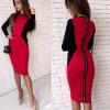 Женские платья Lovaru ™ 2017 Осень Красные Синие с длинными рукавами Молнии Повседневные платья для женщин Платья для колен повседневные платья