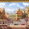 Обои для рабочего стола Обои европейского стиля Ретро-сказки Городское здание Фото обои для стен 3D-ресторан Cafe Backdrop Wall обои для стен в нижнем онлайн