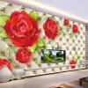 Пользовательские классические фотообои 3D-тиснение Мягкий пакет Красная роза Красивый цветок Mural Гостиная Свадебный дом Home Decor Fresco