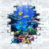 Бесплатная доставка пользовательские антискользящие утолщенные обои для ванной Подводный мир Dolphins 3D Stereo Painting Flooring 250cmx200cm