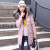 Winter New Arrival Women's Cotton-padded Long Coat Fashion Fur Collar Hooded Winter Warm Outwear Coat Jacket