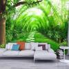 Обои для рабочего стола 3D-стены на стенах Живая комната с ТВ Фон Нетканые соломенные обои Зеленая бамбуковая лесная стена Настенная живопись