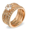 Crystal 3 Round Rose Gold Plated Ring Jewelry Made with Genuine SWA ELEMENTS Crystals From Austria R059 yoursfs heart necklace for mother s day with round austria crystal gift 18k white gold plated