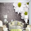 Пользовательские обои для рабочего стола 3D для стен Белый хризантемы Ретро-коричневый фон из дерева Обои на стенах Спальня Прикроватная стена Декоративная фон для презентации черный