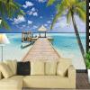 Пользовательские 3D-обои для фото Large Mural Summer Beach Landscape Палм-Чайка Зал Спальня Гостиная Диван-ТВ Фон Обои пользовательские обои для фото 3d planet universe 3d mural гостиная спальня диван тв фон обои для стен home decor mural обои
