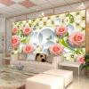 Пользовательскй любой размер обо 3D Wall Decor гостной Современная простая стльная 3D роза Жвопсь Настенная роспсь стен