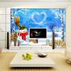 Пользовательские фото обои спальня ТВ фон обои водонепроницаемый 3D стерео зима снег снеговик обои гостиная стена пользовательские 3d росписи дерево зеленое ясное небо фон стена гостиная лобби фоном 3d стерео спальня ресторан обои