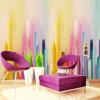 Ручная роспись Цвет Градиент стены Декоративные комнаты для спальни Спальня Детская комната Нетканые обои для стен декоративные шумопоглощающие панели для стен