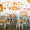 Custom 3d mural Западный стиль пиццы обои пицца торт гамбургер пекарня обои случайный кофе ресторан росписи обои кофейня тематическая коробка ретро ностальгический таможенный европейский стиль английские буквы росписи западный ресторан обои