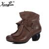 Xiangban дамы сапоги элегантный ретро набор bowtie ручной работы кожаные ботинки лодыжки женские удобные толстые туфли пятки aideli мужская мода лодыжки сапоги британского стиля ботинки моды ботинки nubuck кожаные сапоги