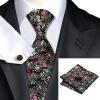 Н-0267 моде мужчины Шелковый галстук набор галстук Запонки платок черный Цветочный набор галстуков для мужчин формальных Свадебный бизнес оптом eleganzza 3 a3 05 0267