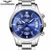 GUANQIN  Мужские часы Водонепроницаемый бизнес Кварцевые часы Мужские спортивные часы из нержавеющей стали