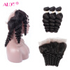 Фото Alot Hair 7A Loose Wave 3 Bundles with Closure Virgin Peruvian Hair Loose Wave с 360 фронтальным закрытием Curly Human Hair Extension