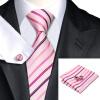 Н-0228 моде мужчины Шелковый галстук набор галстук платок Запонки комплект розовый в полоску мужские галстуки формальный Свадебный бизнес оптом купить шифер оптом в липецке