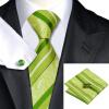 n-0452 Vogue мужчин шелковым галстуком установили зеленый полоса галстук платок запонки установить связи для мужчин официальный свадебный бизнес оптом