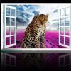 Пользовательские фотообои 3D Lifelike Animal Leopard Фиолетовые цветы Настенная роспись Окна Вид на стену Бумага для постельного белья Комната с телевизором