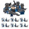 KAZI 84033 6Pcs / Set Городская полицейская команда SWAT CS Commando Солдаты армии с оружейными пушками Военная игрушка