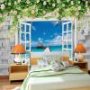 Пользовательские 3d-росписи Большие фрески 3D ложное окно за пределами стены сада обои гостиная роза цветы wallparer mural волшебная страна наклейка на окно роза