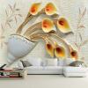 Пользовательские обои для настенной живописи Нетканые 3D-тисненые цветочные обои для гостиной ТВ-фон Обои настенные обои Де Пареде фон для презентации черный