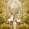 3D-обои для рабочего стола Custom Nordic Forest Oil Painting Elk Large Murals Нетканые обои для гостиной Диваны Murales De Pared