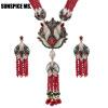 Sunspice ms. Природные камни Tassel ожерелье кристалл цветок падение серьги женщин Vintage ювелирные изделия набор антикварные зол камни полудрагоценные чароит изделия