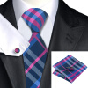 Н-0653 моде мужчины Шелковый галстук набор фиолетовый в полоску галстук платок Запонки набор галстуков для мужчин формальных Свадебный бизнес оптом