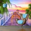 Пользовательские обои Mural 3D Sunset Seaside Gallery Scenery Фотография Обои для рабочего стола для телевизора с диваном для гостиной Комната для прихожей для гостиной