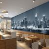Пользовательские Mural Европейский City Building Гостиная Телевизор Диван обои обои Черный и белый Нью-Йорк ночь 3D-фото обои