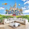Детская комната 3D Stereo Castle Backdrop Настенная панно Blue Sky и белые облака Зеленая трава Пейзаж Фото обои Home Decor blue sky чаша северный олень