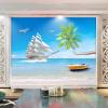 Пляж с видом на море Пользовательские 3D-обои для рабочего стола Фон Стены Большие фрески Современные обои для картины на стенах Домашний декор