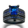 Мода Роскошное черное золото Цветное кольцо Наборы принцессы Cut Blue Cubic Zirconia Ring для женщин и мужчин Full Size Wholesale R692