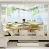 3D Стерео с видом на море Балкон Стеновые обои Гостиная Телевизор Фон Обои для стен 3 D Современное пространство Expansion Home Decor